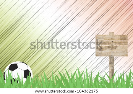 Football soccer with Wooden billboard on grass background