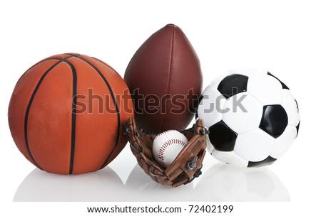 Football, Soccerball, Baseball and Basketball, Isolated, White - stock photo