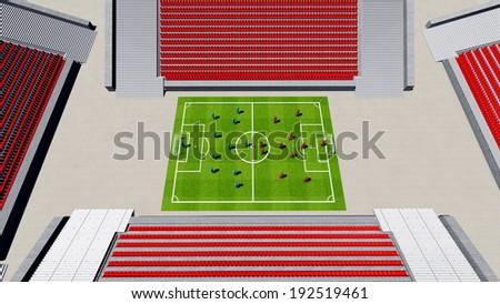 Football stadium with empty tribunes - stock photo
