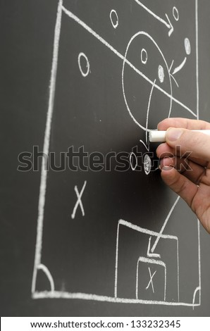 Football strategy on board with a male hand drawing a pass between players. - stock photo