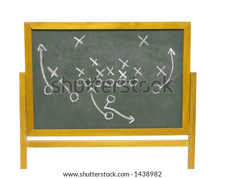 Football strategy on the chalkboard - stock photo