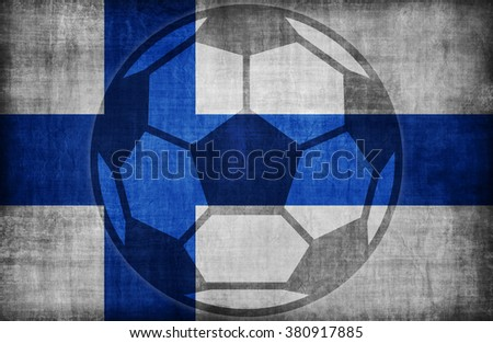 football symbol on Finland flag pattern,retro vintage style