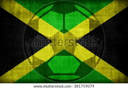 football symbol on Jamaica flag pattern,retro vintage style - stock photo