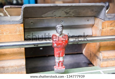 football table close up ,goal keeper - stock photo