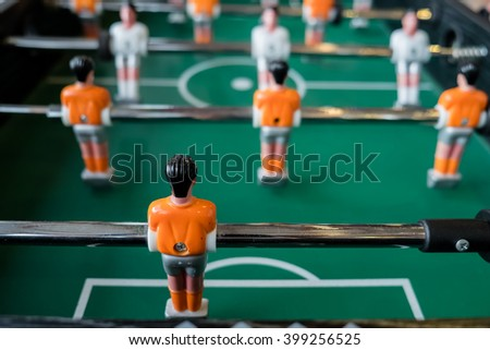 football table close up ,soccer table game - stock photo