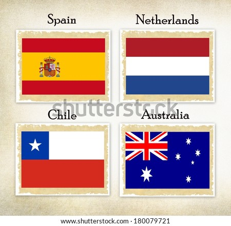 Football teams group selection for the soccer games in Brazil ; Group B  consists the soccer teams from Spain, Netherlands, Chili, Australia