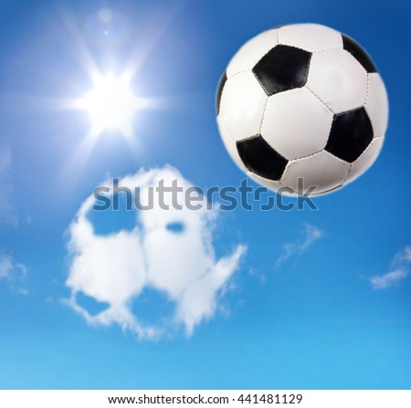Football. The final. The sun. Soccer ball, sky and cloud-like ball. - stock photo