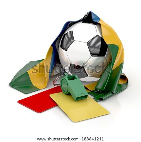 Football with Brazilian Flag, whistle, red and yellow cards. 3d illustration isolated on white background - stock photo