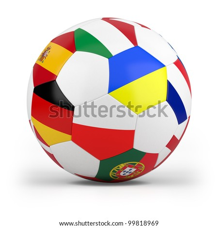 football with european flags - high quality 3d illustration - stock photo