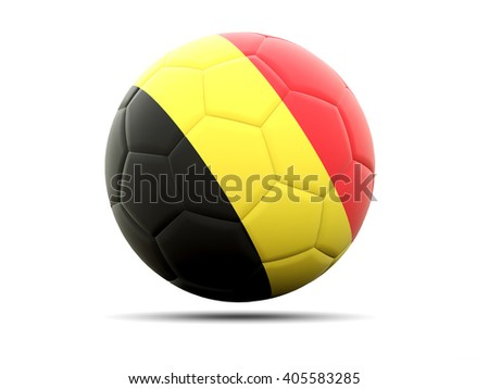 Football with flag of belgium. 3D illustration - stock photo