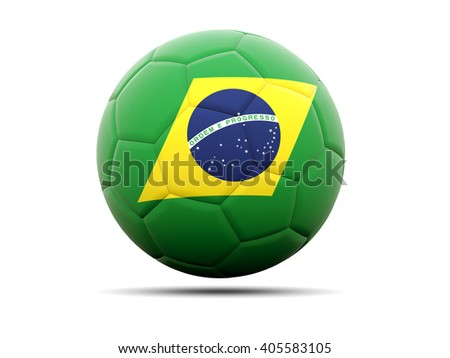 Football with flag of brazil. 3D illustration