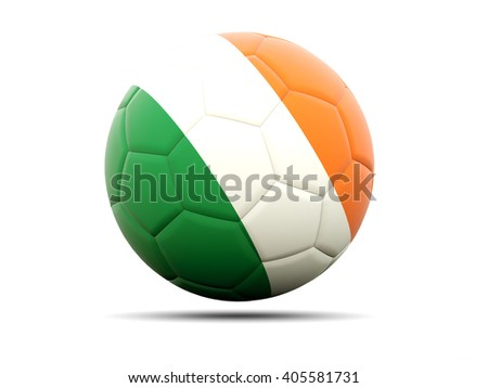 Football with flag of ireland. 3D illustration - stock photo
