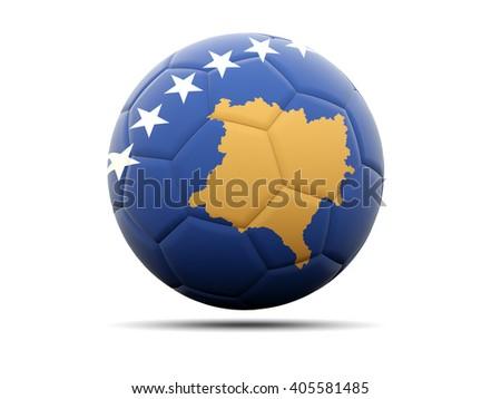 Football with flag of kosovo. 3D illustration - stock photo