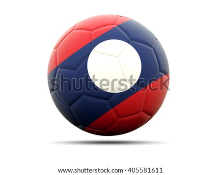 Football with flag of laos. 3D illustration