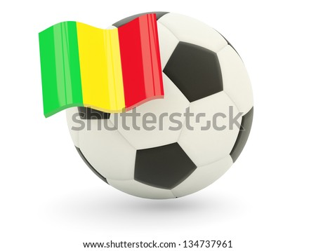 Football with flag of mali isolated on white - stock photo