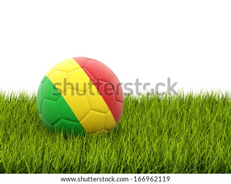 Football with flag of mali on green grass - stock photo