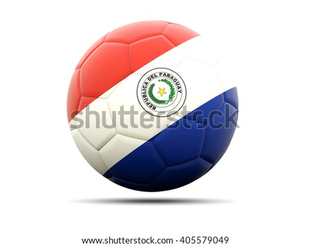 Football with flag of paraguay. 3D illustration