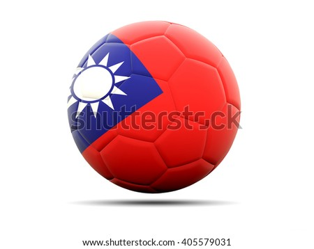 Football with flag of republic of china. 3D illustration - stock photo