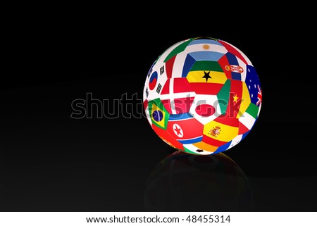 Football with flags of participants of 2010 World cup - stock photo