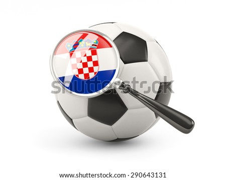 Football with magnified flag of croatia isolated on white - stock photo