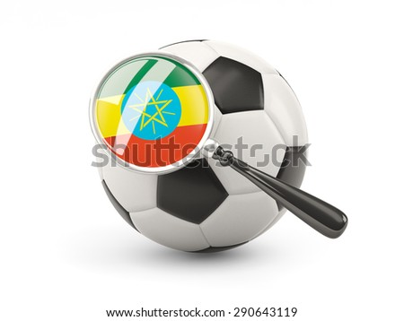 Football with magnified flag of ethiopia isolated on white - stock photo