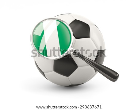 Football with magnified flag of nigeria isolated on white - stock photo