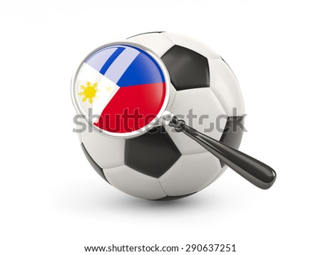 Football with magnified flag of philippines isolated on white - stock photo