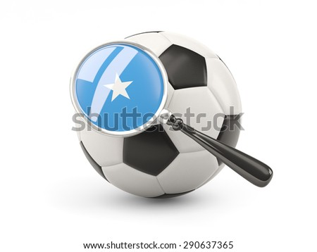 Football with magnified flag of somalia isolated on white - stock photo
