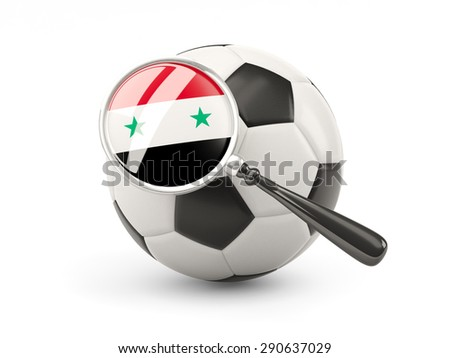 Football with magnified flag of syria isolated on white - stock photo