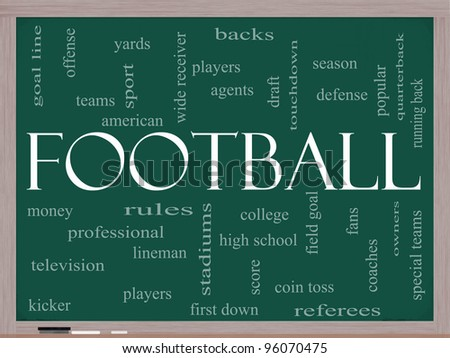 Football Word Cloud Concept on a Chalkboard with great terms such as touchdown, season, quarterback, fans, games, draft and more. - stock photo