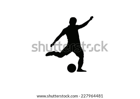 Footballer outline in action