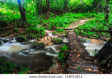 Footbridge across the falls in rainforest at Doi Inthanon National park in Chiang Mai, Province Asia Thailand  - stock photo