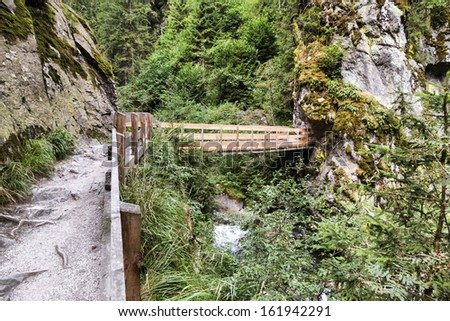 Footbridge at Stanghe's waterfall - Racines - Val Ridanna (South Tyrol - Italy)