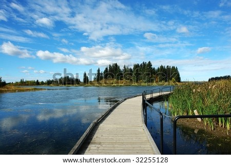 footbridge in astotin lake, elk island national park, Alberta, Canada - stock photo