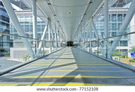 footbridge in door at day - stock photo