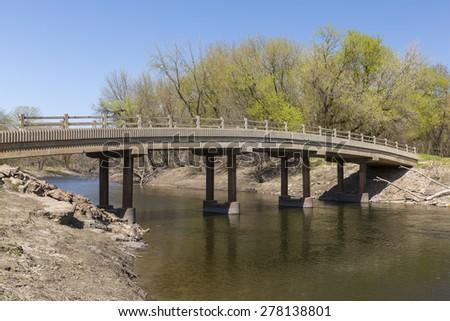 Footbridge In Spring - stock photo