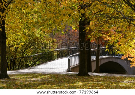 Footbridge in the Fall, Boston Esplanade. - stock photo