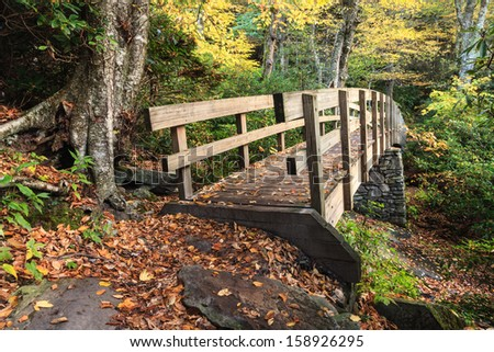 Footbridge on the Tanawha Trail to Rough Ridge near Grandfather Mountain off the Blue Ridge Parkway during fall foliage in North Carolina - stock photo
