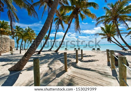 footbridge to the beach - Key West - stock photo