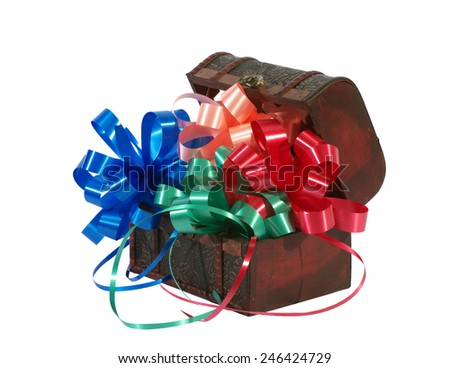 Footlocker with colored bows for gift on a white background - stock photo