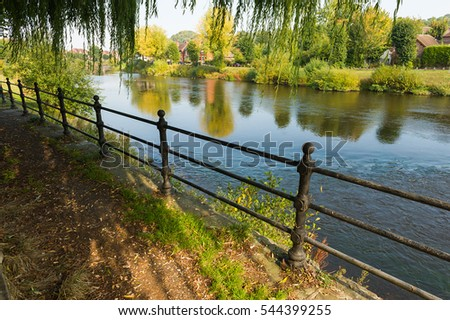 Footpath along the Severn river in Bridgnorth in Shropshire, West Midlands, England.