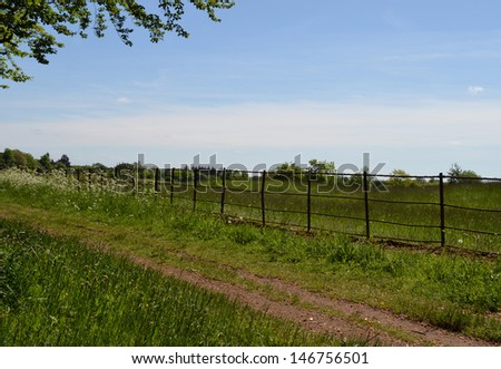 Footpath and Fence - stock photo