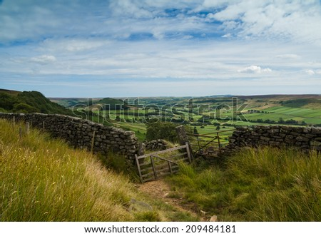 Footpath and gate leading to Fryup Dale - stock photo