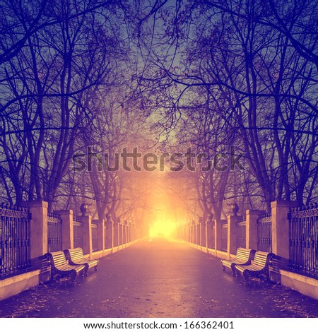 footpath in a fabulous autumn city park - stock photo
