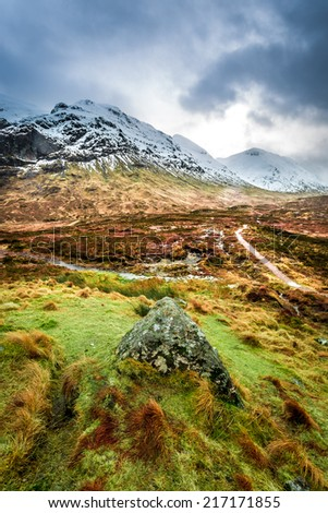 Footpath in Glencoe mountains - stock photo