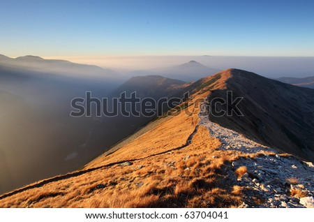 Footpath in high west Tatras - Rohace - stock photo