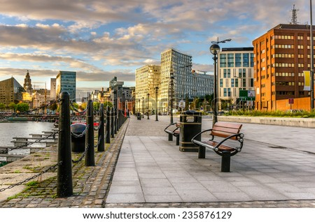 Footpath Lined with Benches on Liverpool Waterfront - stock photo