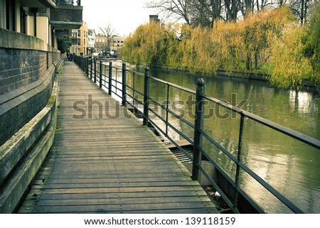Footpath next to the river in Cambridge, England - stock photo