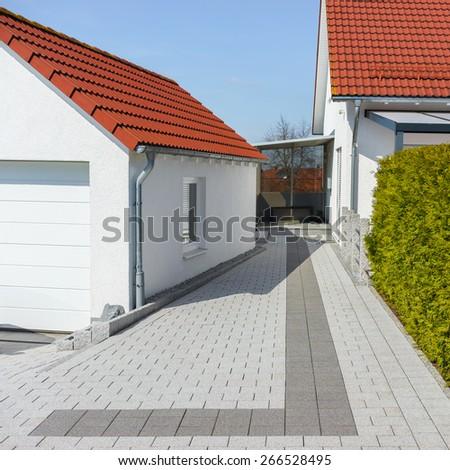 Footpath of paving stones - stock photo