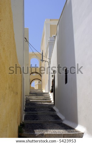 Footpath on Santorini island, Greece - stock photo